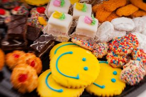 Tasty Pastry Platters: Brownies, petit fours, iced cookies & other various baked goods on platter